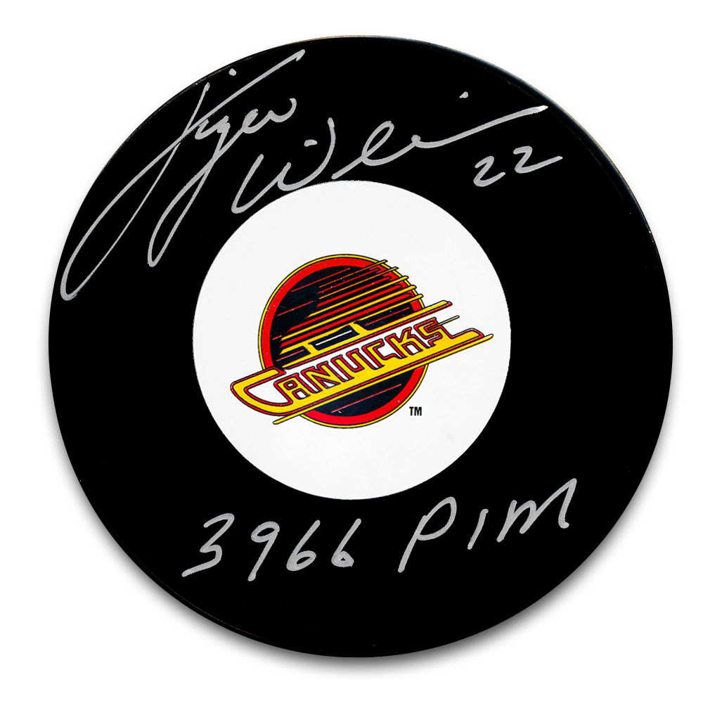 Tiger Williams Vancouver Canucks 3966 PIM Autographed Puck