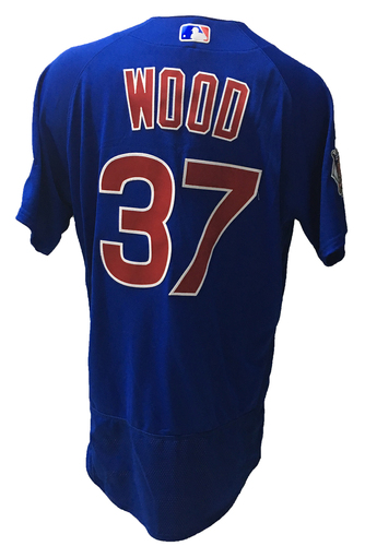 Photo of Travis Wood Game-Used Jersey -- Wood; Hold, 0.1 IP, 1 ER -- 2016 World Champion Season -- NLDS Game 3 -- Cubs vs Giants -- 10/10/16