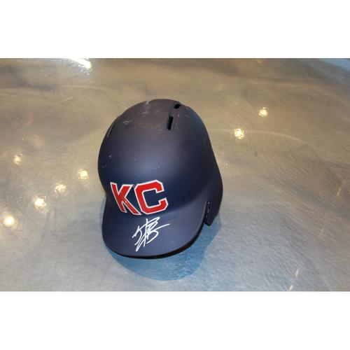 Photo of Jorge Bonifacio Autographed Game-Used Kansas City Monarchs Helmet (5/7/2017) (Size 7 3/8)