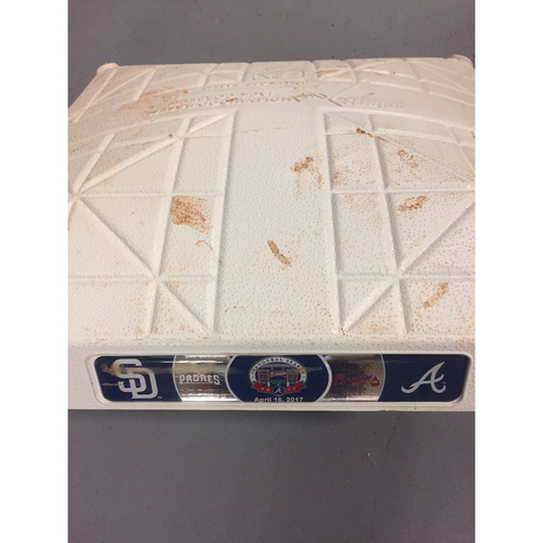 Photo of Game-Used 2nd Base used 1-3 Innings on April 16, 2017 - First Series at SunTrust Park- Braves Swept the Padres