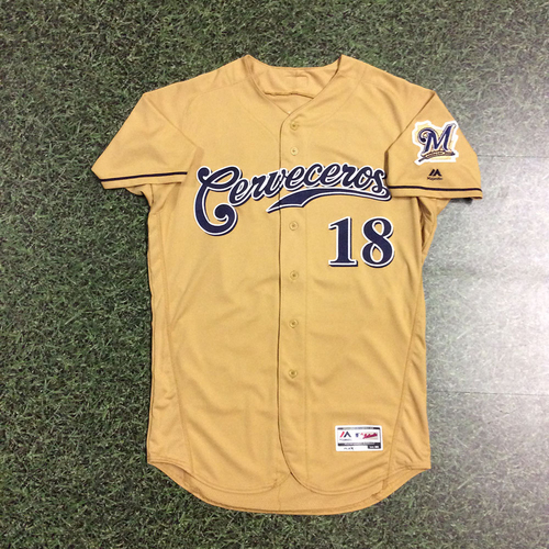 Photo of Eric Sogard 2017 Game-Used Cerveceros Jersey