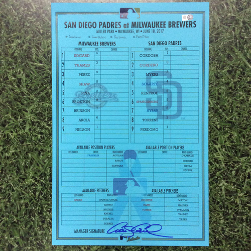 Photo of SD @ MIL 06/18/17 Father's Day Team-Issued Replica Lineup Card - Win 2-1: Pérez and Piña HRs; Nelson 1st Career Complete Game