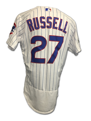 Photo of Addison Russell 2017 Postseason Game-Used Jersey -- 10/11 vs. Nationals: NLDS Game 4 -- 10/17 vs. Dodgers: NLCS Game 3