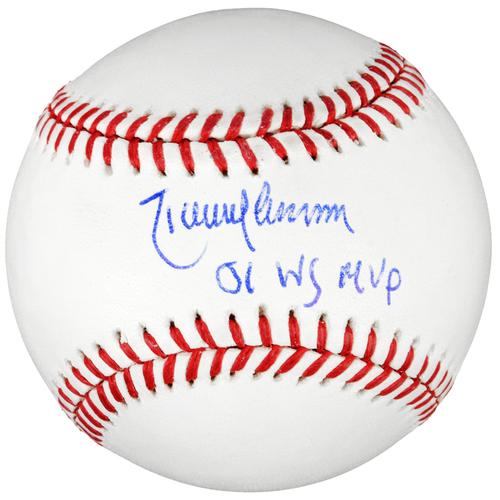 Photo of Randy Johnson Arizona Diamondbacks Autographed Baseball with 01 WS MVP Inscription