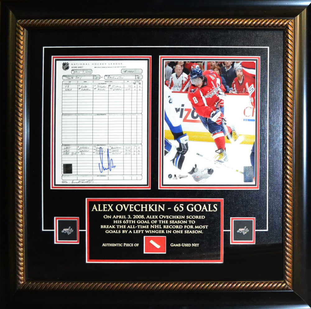 Alexander Ovechkin - Signed & Framed 8x10 Scoresheet - Washington Capitals - Featuring Piece of Net from 65th Goal