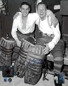 Johnny Bower Autographed Toronto Maple Leafs With Terry Sawchuk HHOF 8x10