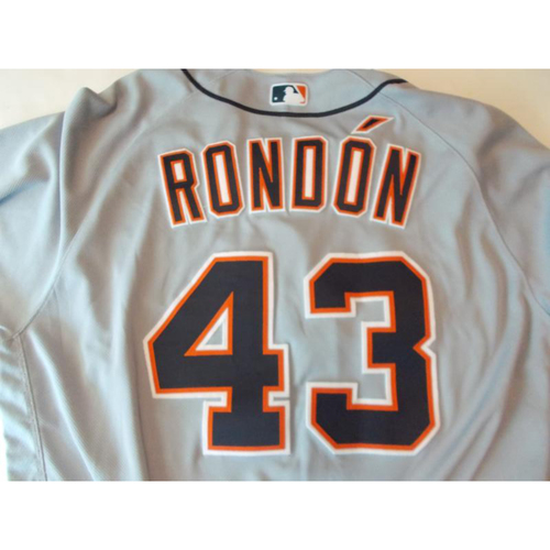 Photo of Game-Used Bruce Rondon Road Jersey