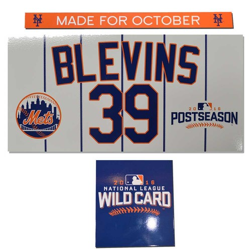 Photo of Jerry Blevins #39 - Game Used Wildcard Nameplate Set - Mets vs. Giants - 10/5/16