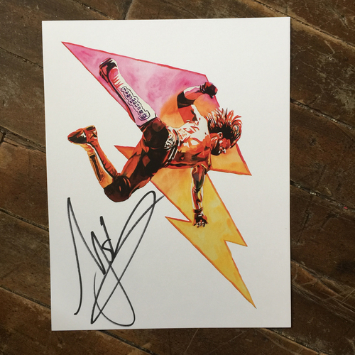 AJ Styles SIGNED 11 x 14 Rob Schamberger Print