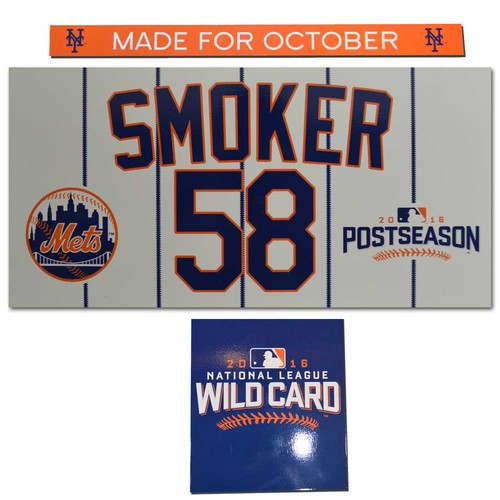 Josh Smoker #58 - Game Used Locker Nameplate Set - 2016 NL Wildcard