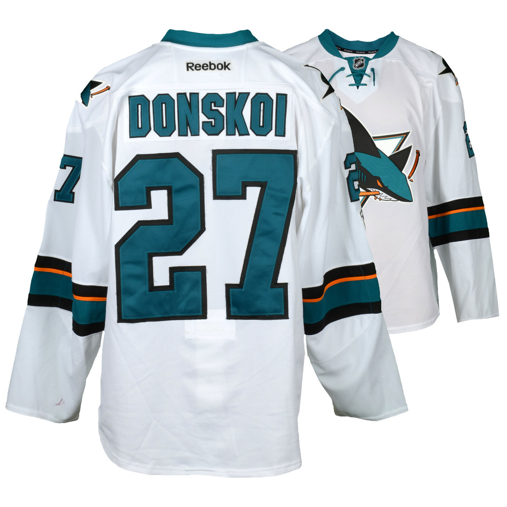 Joonas Donskoi San Jose Sharks Game-Used Away White #27 Jersey Used During All Games Between March 30, 2017 to April 3, 2017 - Size 56