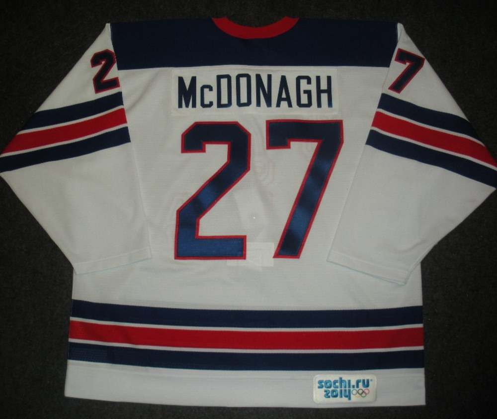 Ryan McDonagh - Sochi 2014 - Winter Olympic Games - Team USA Throwback Game-Worn Jersey - Worn in Warmups and 1st Period vs. Slovenia, 2/16/14