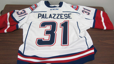 AHL WHITE GAME ISSUED FRANK PALAZZESE JERSEY