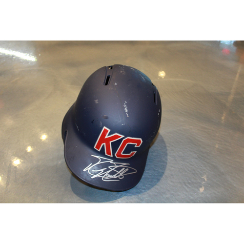 Photo of Mike Moustakas Autographed Game-Used Kansas City Monarchs Helmet (5/7/2017) (Size 7 1/2)