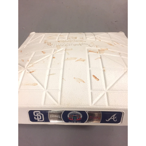 Photo of Game-Used 3rd Base used 1-3 Innings on April 16, 2017 - First Series at SunTrust Park- Braves Swept the Padres