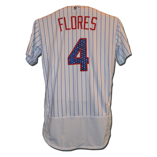 Photo of Wilmer Flores #4 - Game Used White Pinstripe 4th of July Jersey - Mets vs. Phillies - 7/2/17