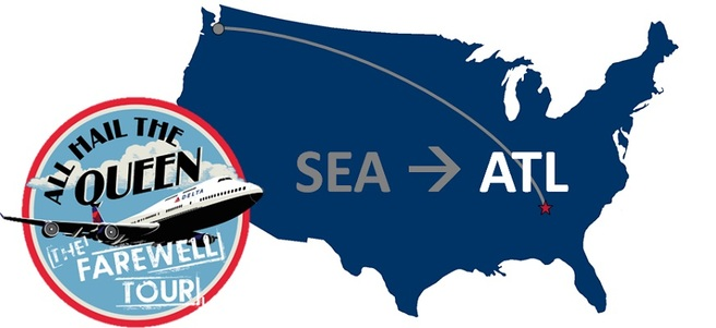 DELTA'S BOEING 747 FAREWELL TOUR FLIGHT (SEA-ATL) AND HANGAR PARTY IN ATLANTA - PACKAGE 1 OF 5