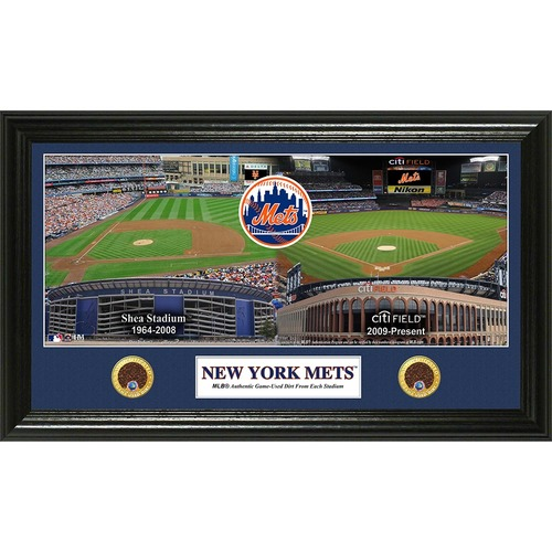 Photo of Shea/Citi Dual Plaque - Features Game Used Dirt from Shea Stadium and Citi Field