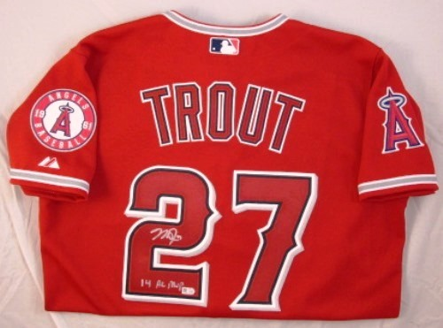 "Photo of Mike Trout Autographed ""14 AL MVP"" Authentic Alternate Red Angels Jersey (Presale - Signing in May)"