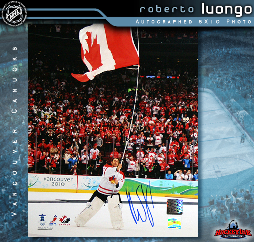 ROBERTO LUONGO Signed 2010 Team Canada 8 X 10 Photo - Vancouver Canucks