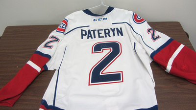 AHL WHITE GAME ISSUED GREG PATERYN JERSEY SIGNED