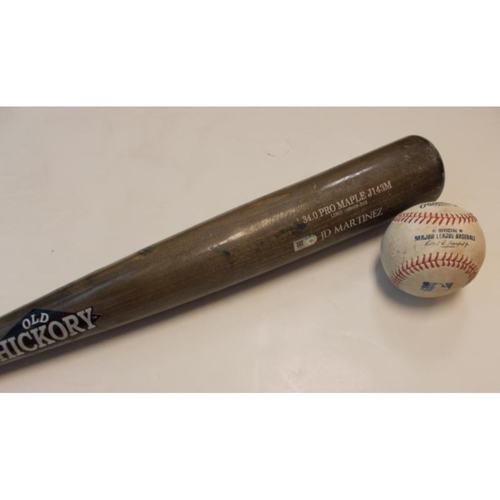 Photo of Game-Used Bat and Baseball: JD Martinez Single June 29, 2017
