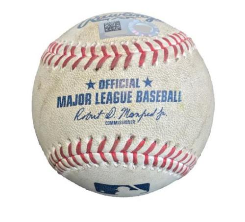 Photo of Game-Used Baseball from Pirates vs. Reds on 8/1/17 - Taillon to Winker, Ball in Dirt - Winker Hits 1st Career HR During Game