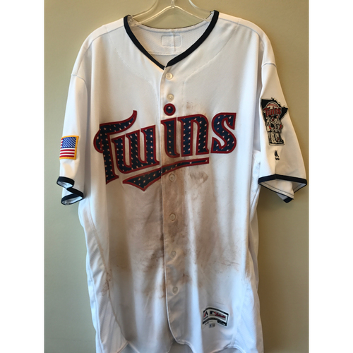 Photo of 2017 Game-Used July 4th Home Jersey - Chris Gimenez  - Size  - Size 48