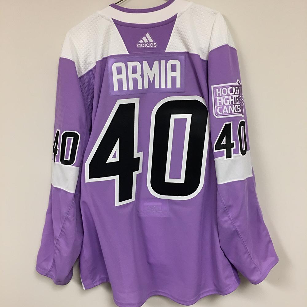 JOEL ARMIA Autographed Warm Up Worn Hockey Fights Cancer Jersey