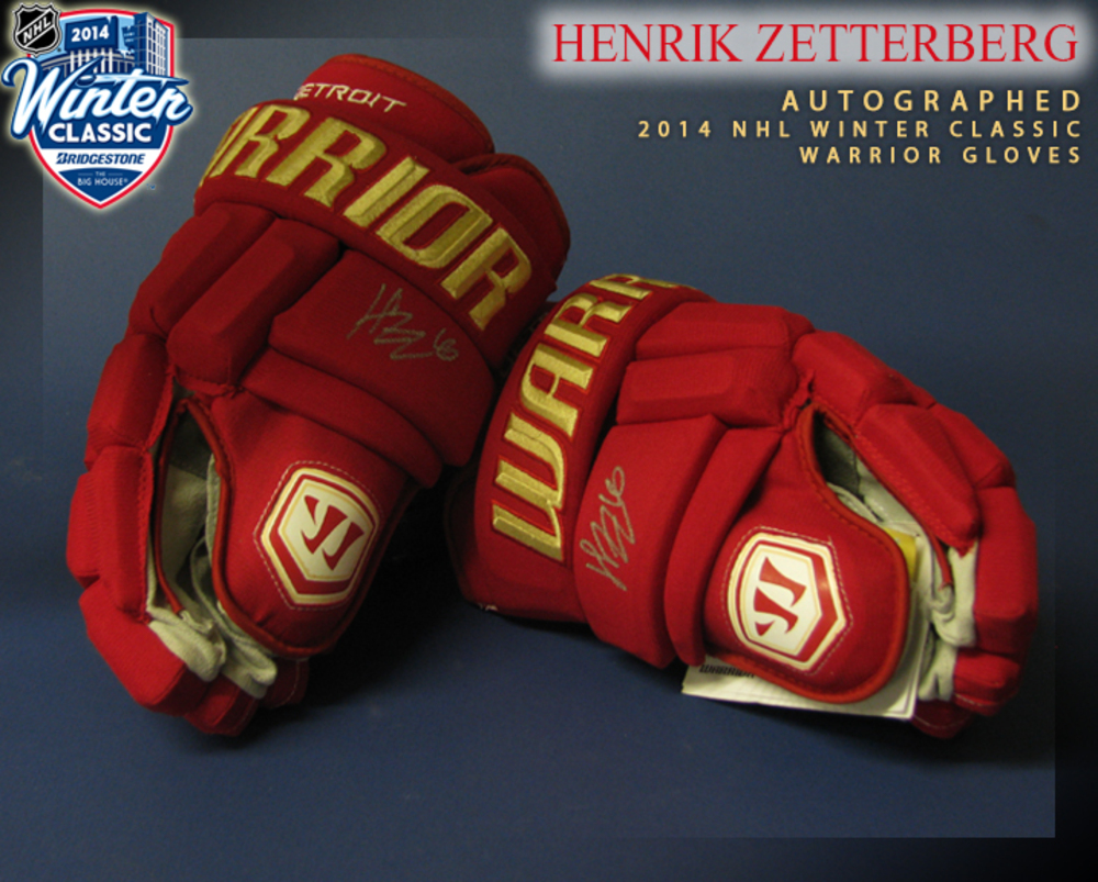 HENRIK ZETTERBERG Signed LIMITED RUN Detroit Red Wings 2014 NHL Winter Classic Pro Model Warrior Gloves