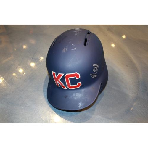 Photo of Alcides Escobar Autographed Game-Used Kansas City Monarchs Helmet (5/7/2017) (Size 7 3/8)