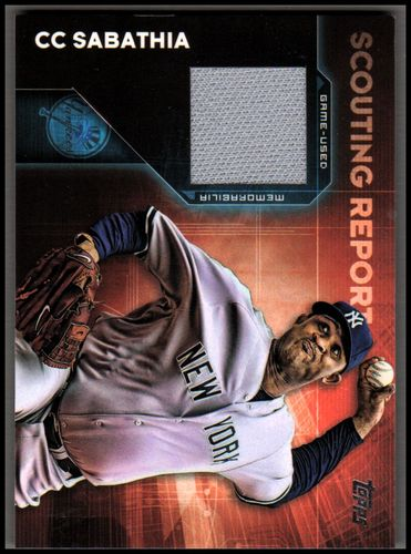 Photo of 2016 Topps Scouting Report Relics #SRRCSA CC Sabathia Yankees Jersey Relic Card