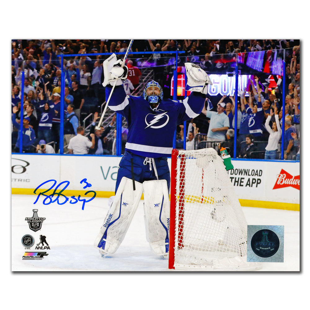 Ben Bishop Tampa Bay Lightning CELEBRATION Autographed 8x10