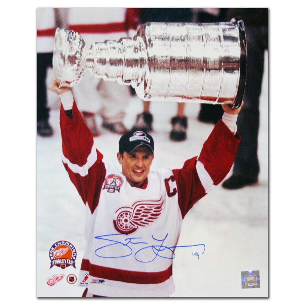 Steve Yzerman Autographed Detroit Red Wings 2002 Stanley Cup 16X20 Photo