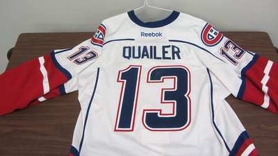 AHL WHITE GAME ISSUED STEVE QUAILER JERSEY SIGNED