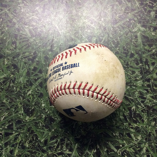 Photo of Game-Used Baseball 06/06/17 SF@MIL - Chase Anderson to Denard Span: Single