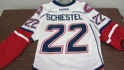 AHL WHITE GAME ISSUED DREW SCHIESTEL JERSEY SIGNED