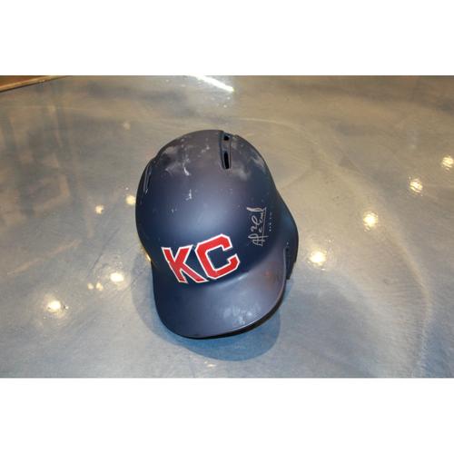 Photo of Alcides Escobar Autographed Game-Used Kansas City Monarchs Helmet (5/7/2017) (Size 7 1/4)