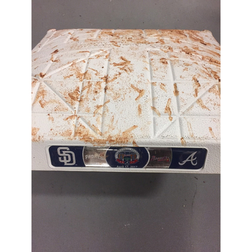 Photo of Game-Used 2nd Base used 1-3 Innings on April 17, 2017 - First Series at SunTrust Park- Braves Swept the Padres