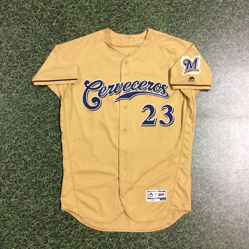 Photo of Keon Broxton 2017 Game-Used Cerveceros Jersey