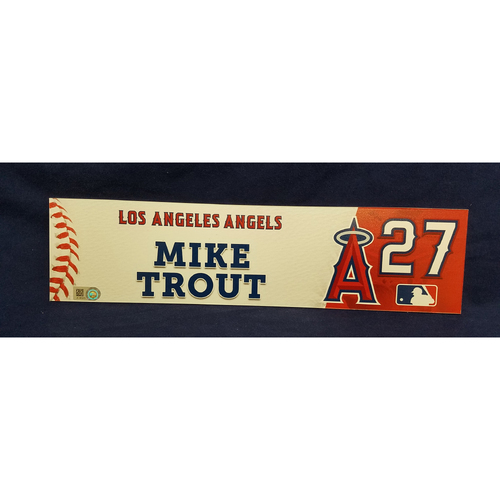 Photo of Mike Trout Game-Used Clubhouse Locker Tag