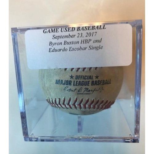 Photo of Game-Used Baseball: Byron Buxton Hit by Pitch & Eduardo Escobar Single