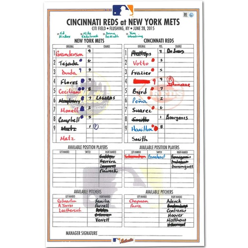 Photo of Steven Matz - Replica Lineup Card from MLB Debut - 6/28/17