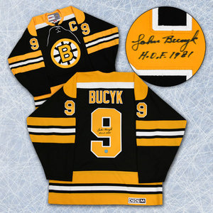 Johnny Bucyk Boston Bruins Autographed Retro CCM Jersey w HOF 1981 Note