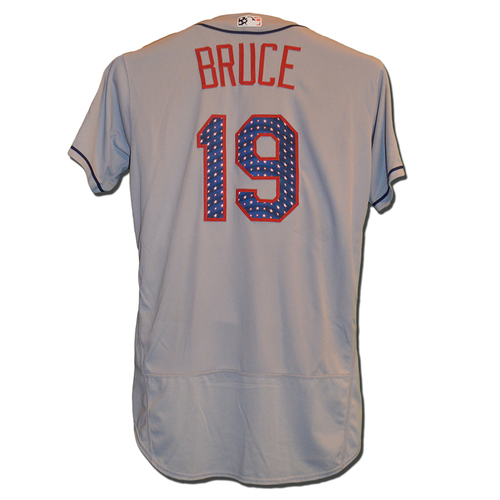 Photo of Jay Bruce #19 - Bruce Goes 1-5; Home Run, 2 RBI - Game Used Road Grey 4th of July Jersey - Mets vs. Nationals - 7/4/17