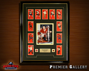 JEAN BELIVEAU Signed Montreal Canadiens 8x10 Photo Framed with Team Cards