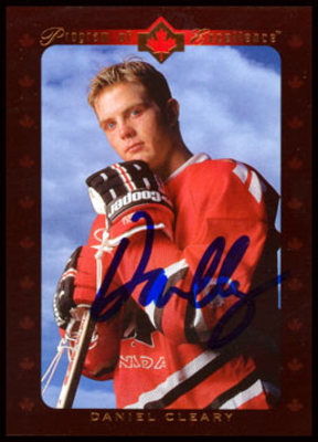 1995-96 Upper Deck #507 DANIEL CLEARY Autographed Rookie Card *Detroit Red Wings*