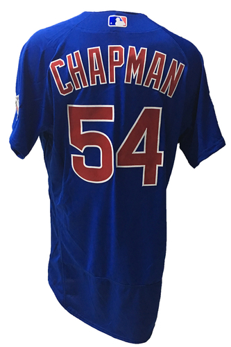 Photo of Aroldis Chapman Game-Used Jersey -- 2016 World Champion Season -- NLDS Game 3 -- Cubs vs Giants -- 10/10/16