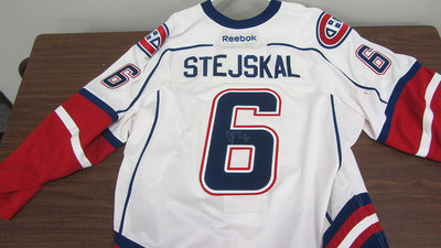 AHL WHITE GAME ISSUED JOE STEJSKAL JERSEY SIGNED