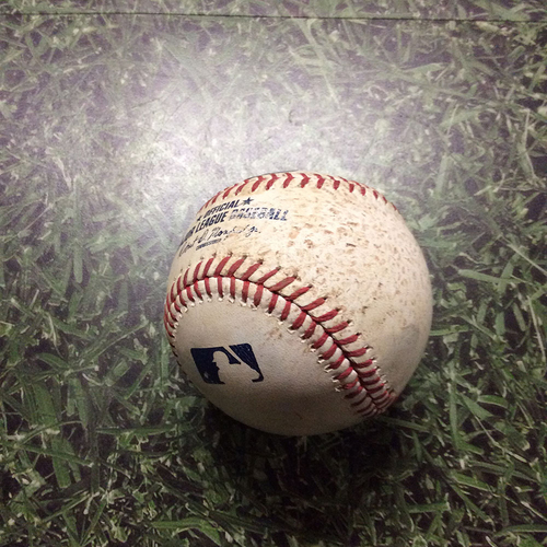 Photo of Game-Used Baseball 06/07/17 SF@MIL - Jimmy Nelson to Orlando Calixte: Strikeout